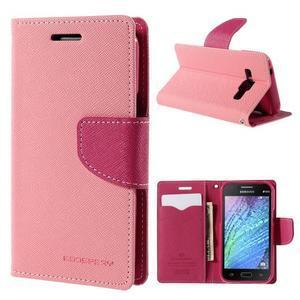 Růžové/rose PU kožené pouzdro na Samsung Galaxy J1 - 1