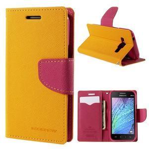 Žluté/rose PU kožené pouzdro na Samsung Galaxy J1 - 1