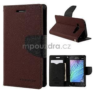Hnědé/černé PU kožené pouzdro na Samsung Galaxy J1 - 1
