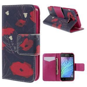 Zapínací pouzdro pro Samsung Galaxy J1 - červená květina - 1