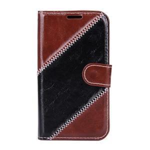 Peněženkové pouzdro Diagonal na Samsung Galaxy J1 - hnědé/černé - 1