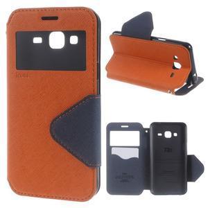 Roar PU kožené pouzdro s okýnkem na Samsung Galaxy J3 (2016) - oranžové - 1