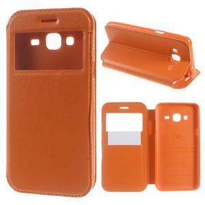 Peněženkové PU kožené pouzdro s okýnkem na Samsung Galaxy J3 (2016) - oranžové - 1