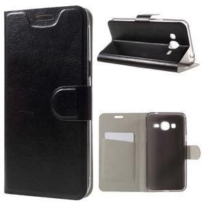 Horse PU kožené penženkové pouzdro na Samsung Galaxy J3 (2016) - černé - 1