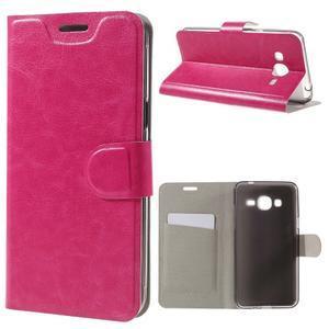 Horse PU kožené penženkové pouzdro na Samsung Galaxy J3 (2016) - rose - 1