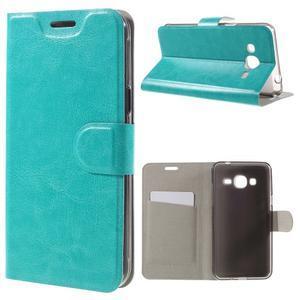 Horse PU kožené penženkové pouzdro na Samsung Galaxy J3 (2016) - modré - 1