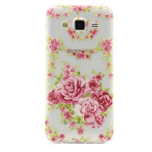 Ultratenký slim gelový obal na Samsung Galaxy J5 - květiny - 1