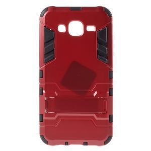 Odolný kryt 2v1 se stojánkem na Samsung Galaxy J5 - červený - 1