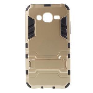 Odolný kryt 2v1 se stojánkem na Samsung Galaxy J5 - zlatý - 1