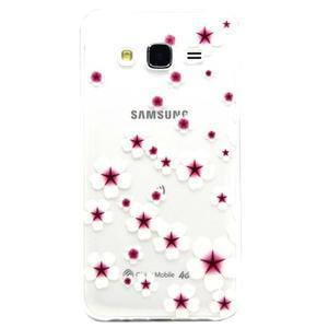 Trasnparent gelový obal na Samsung Galaxy J5 - květinky - 1