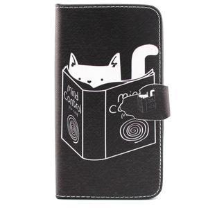 Knížkové pouzdro na mobil Samsung Galax J5 - kočka čte - 1