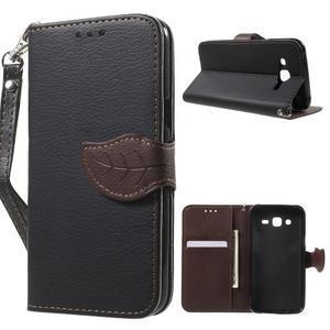 Leaf peněženkové pouzdro na Samsung Galaxy J5 - černé - 1