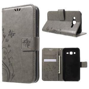 Butterfly PU kožené pouzdro na Samsung Galaxy J5 - šedé - 1