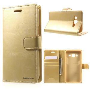 Mercury PU kožené pouzdro na mobil Samsung Galaxy J5 - zlaté - 1