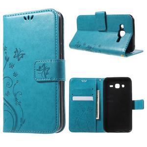 Butterfly PU kožené pouzdro na Samsung Galaxy J5 - modré - 1
