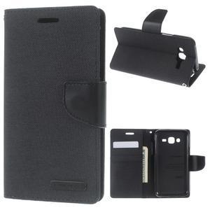 Luxury textilní/pu kožené pouzdro na Samsung Galaxy J5 - černé - 1