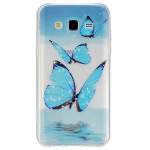 Trans gelový obal na mobil Samsung Galaxy J5 - modří motýlci - 1