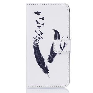 Knížkové pouzdro na mobil Samsung Galaxy J5 (2016) - ptačí peříčka - 1