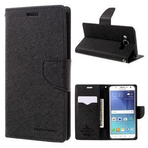 Diary PU kožené pouzdro na mobil Samsung Galaxy J5 (2016) - černé - 1