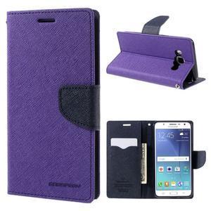 Diary PU kožené pouzdro na mobil Samsung Galaxy J5 (2016) - fialové - 1