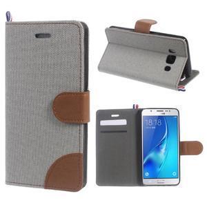 Denim peněženkové pouzdro na Samsung Galaxy J5 (2016) - šedé - 1