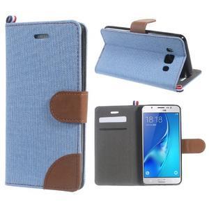 Denim peněženkové pouzdro na Samsung Galaxy J5 (2016) - světlemodré - 1