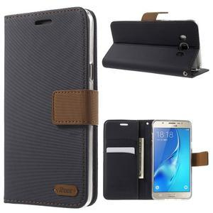 Gentle PU kožené peněženkové pouzdro na Samsung Galaxy J5 (2016) - černé - 1