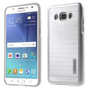 Gelový obal s plastovou výstuhou na Samsung Galaxy J5 (2016) - stříbrný - 1