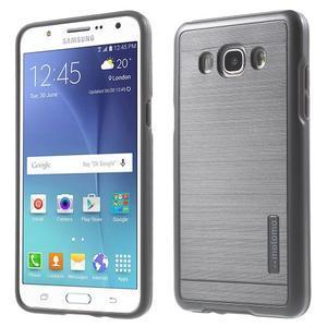 Gelový obal s plastovou výstuhou na Samsung Galaxy J5 (2016) - šedý - 1