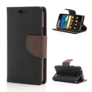 Diary PU kožené pouzdro na mobil Samsung Galaxy S2 - černé/hnědé - 1