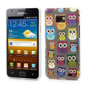 Softy gelový obal na mobil Samsung Galaxy S2 - transparentní sovičky - 1