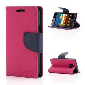 Diary PU kožené pouzdro na mobil Samsung Galaxy S2 - rose - 1