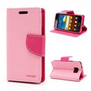 Diary PU kožené pouzdro na mobil Samsung Galaxy S2 - růžové - 1
