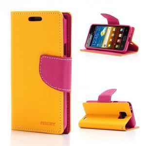 Diary PU kožené pouzdro na mobil Samsung Galaxy S2 - žluté - 1