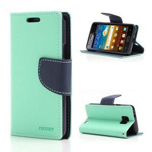 Diary PU kožené pouzdro na mobil Samsung Galaxy S2 - azurové - 1