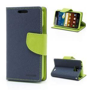 Diary PU kožené pouzdro na mobil Samsung Galaxy S2 - tmavěmodré - 1