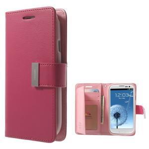 RichDiary PU kožené pouzdro na Samsung Galaxy S3 - rose - 1