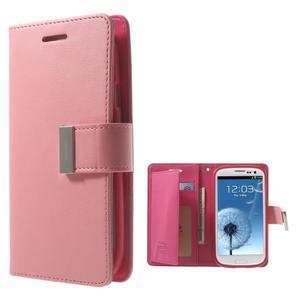 RichDiary PU kožené pouzdro na Samsung Galaxy S3 - růžové - 1