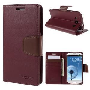 Diary PU kožené pouzdro na mobil Samsung Galaxy S3 - vínové - 1