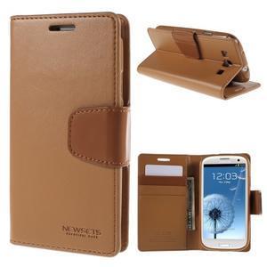 Diary PU kožené pouzdro na mobil Samsung Galaxy S3 - hnědé - 1