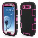 Odolné silikonové pouzdro na mobil Samsung Galaxy S3 - černé/rose - 1/6