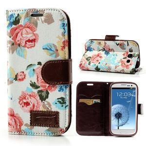 Květinové pouzdro na mobil Samsung Galaxy S3 - bílé poazdí - 1