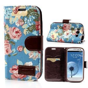 Květinové pouzdro na mobil Samsung Galaxy S3 - modré pozadí - 1