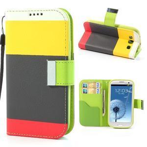 Tricolors PU kožené pouzdro na mobil Samsung Galaxy S3 - černý střed II - 1