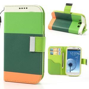 Tricolors PU kožené pouzdro na mobil Samsung Galaxy S3 - tmavězelený střed - 1