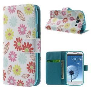 Knížečkové pouzdro na Samsung Galaxy S3 - květinky - 1
