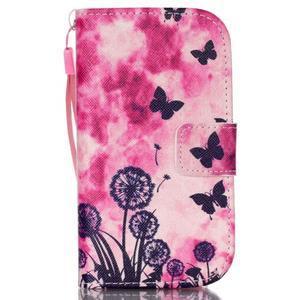 Knížkové PU kožené pouzdro na Samsung Galaxy S3 mini - motýlci - 1