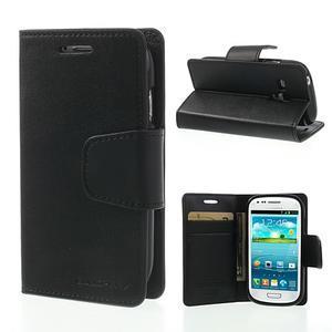 Diary PU kožené pouzdro na Samsung Galaxy S3 mini - černé - 1