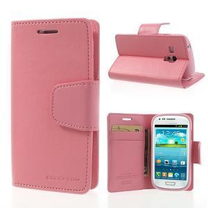 Diary PU kožené pouzdro na Samsung Galaxy S3 mini - růžové - 1