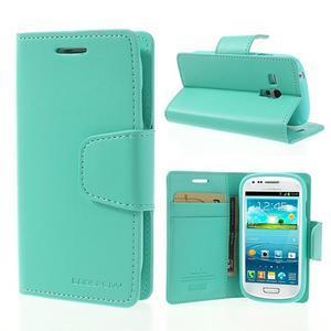Diary PU kožené pouzdro na Samsung Galaxy S3 mini - azurové - 1